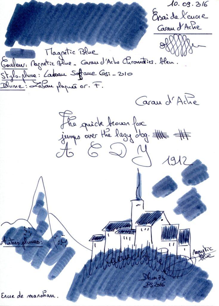 Magnetic blue ink caran dache