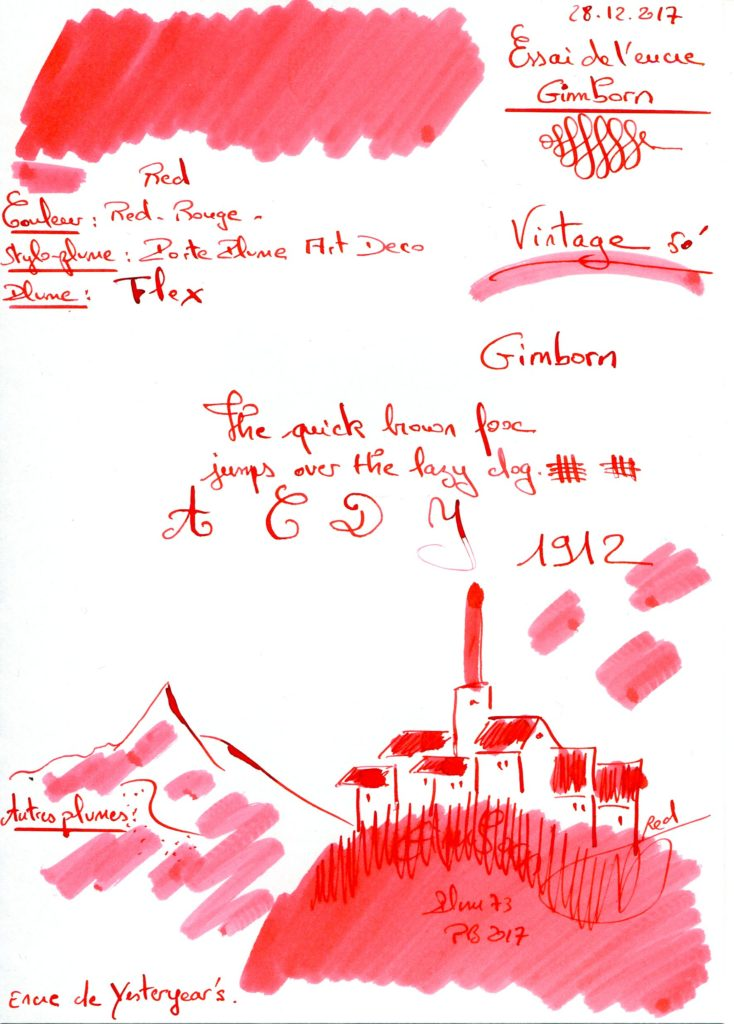 Vintage Gimborn 50 Ink Red