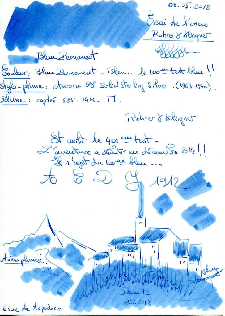 Blau Permanent Ink Rohrer Klingner