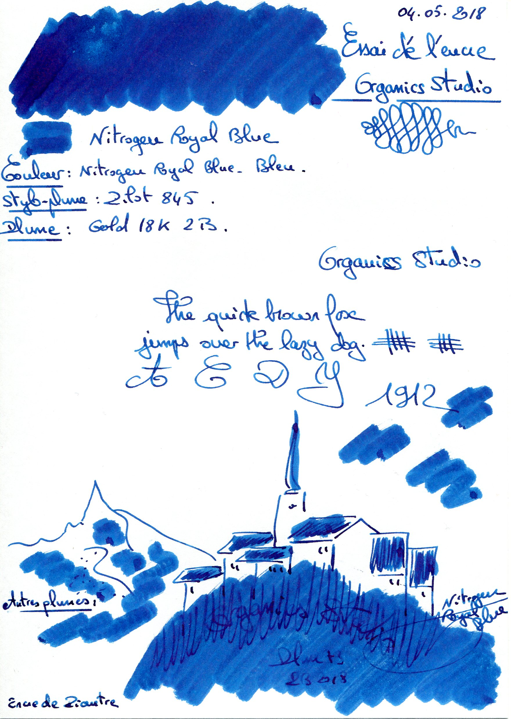 Nitrogen Royal Blue ink Organics Studio