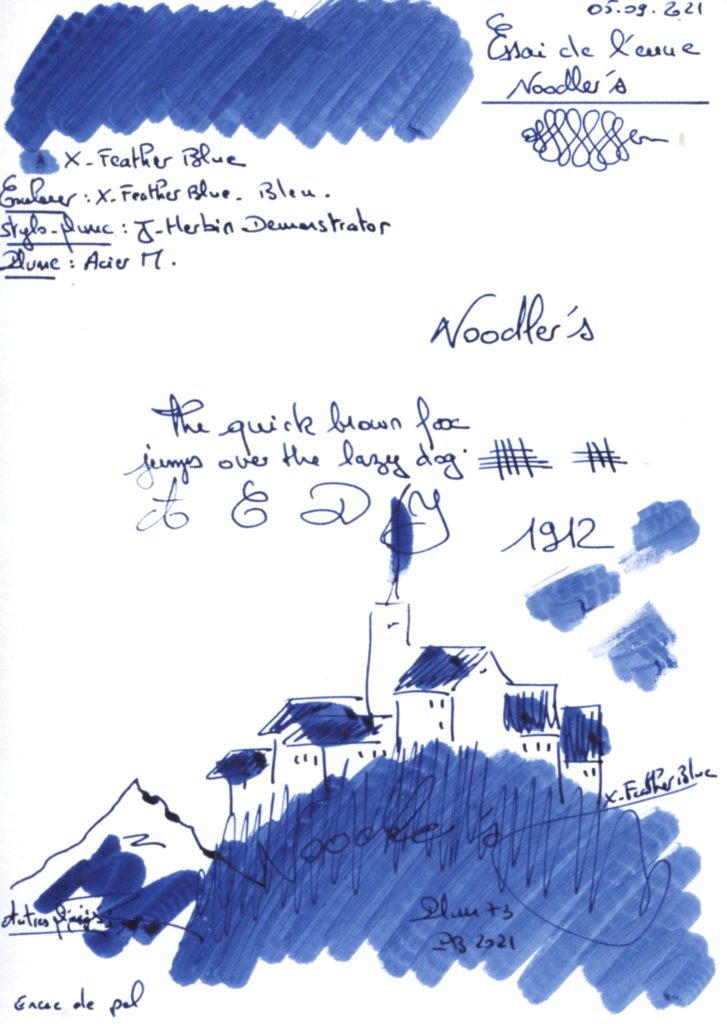 X Feather Blue Ink Noodlers